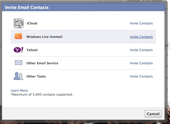 Import email contacts into Facebook