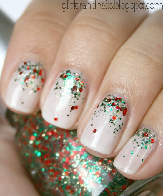 Green French Tip Christmas Nails   Polishpedia: Nail Art