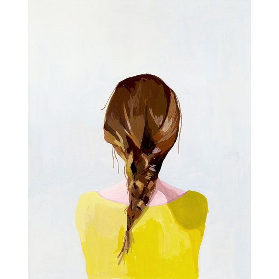 This is a limited edition giclee print of my original gouache painting of a woman with a braid