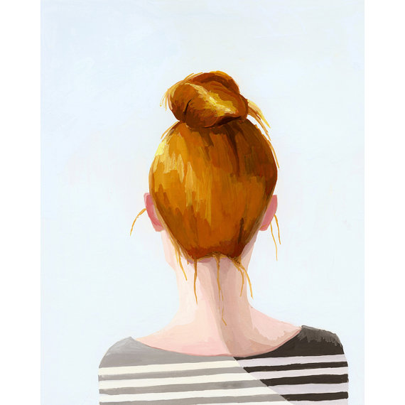 This is a limited edition giclee print of my original gouache painting of a woman with a top knot2