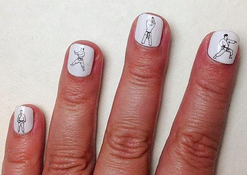 teeny tiny karate guys nail art