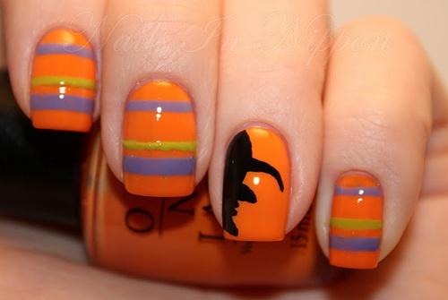 orange witch nail art