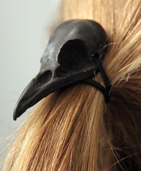Crow Skull Hair Tie