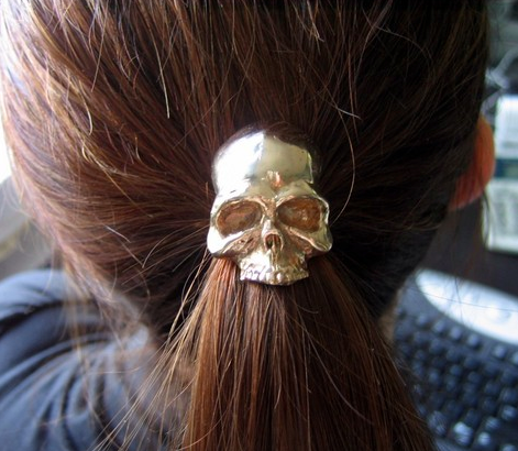 Solid Bronze Human Skull Pony tail Holder