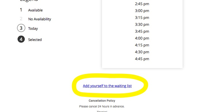 add yourself to the waiting list