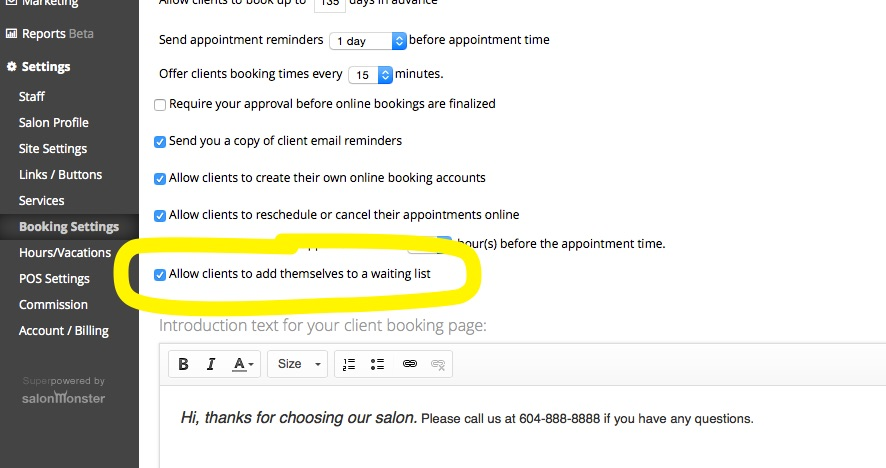 allow clients to add to wait list