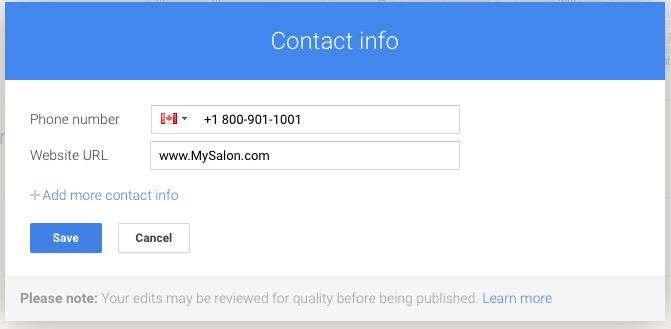 Add website address