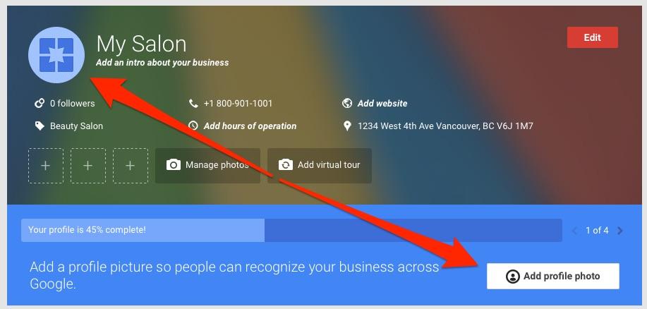 Google My Business - Add pics