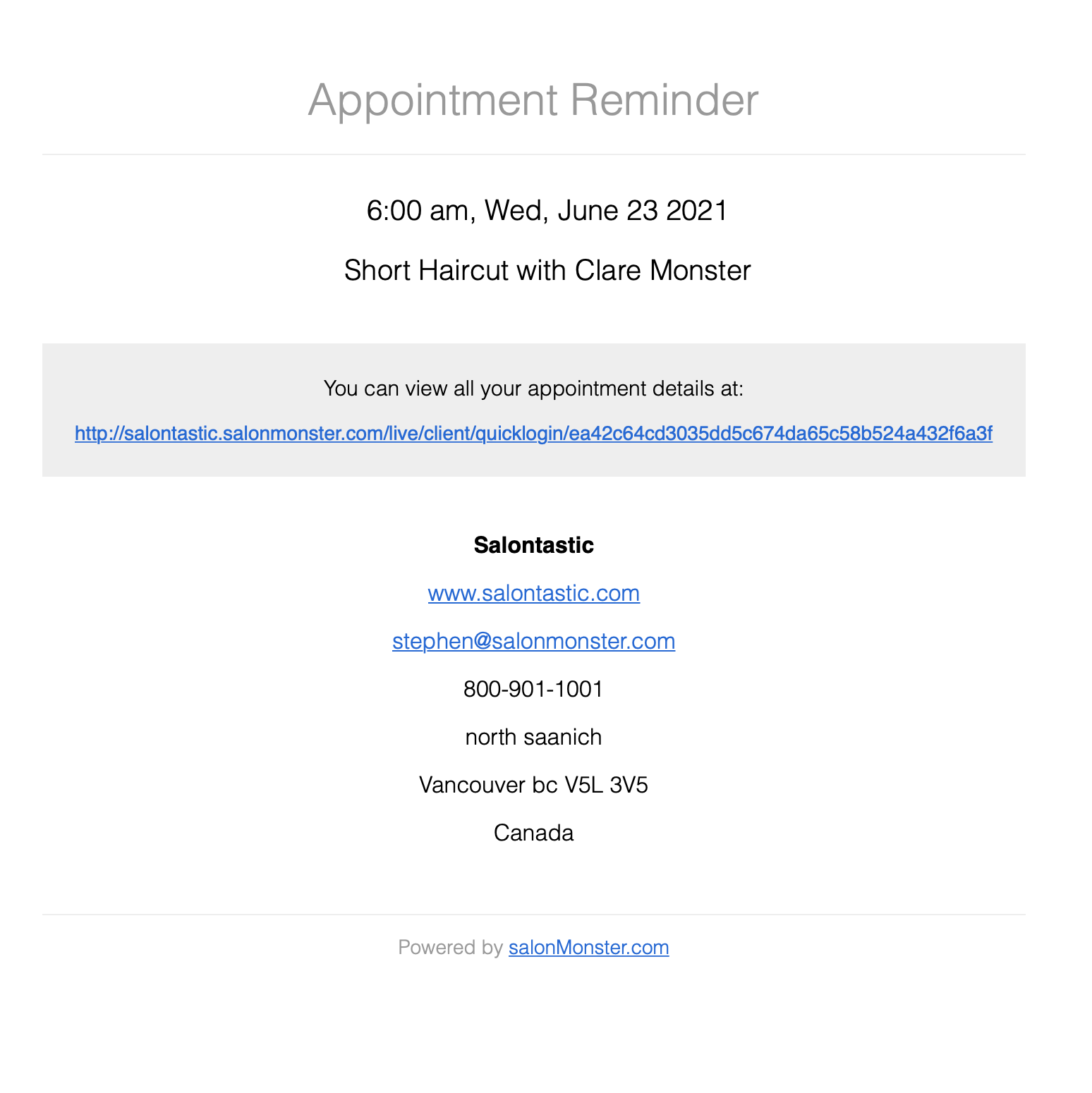 Automatic appointment reminder email